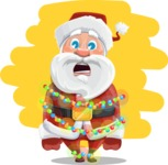 Santa Claus Cartoon Vector Character AKA Mr. Claus North-pole - With Christmas Lights Illustration