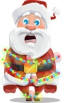 Santa Claus Cartoon Vector Character AKA Mr. Claus North-pole - With Christmas Lights