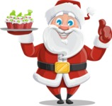 Santa Claus Cartoon Vector Character AKA Mr. Claus North-pole - With Christmas Muffins