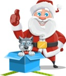 Santa Claus Cartoon Vector Character AKA Mr. Claus North-pole - With Christmas Puppy as a Present