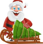 Santa Claus Cartoon Vector Character AKA Mr. Claus North-pole - With Christmas Tree on a Sleigh