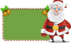 Santa Claus Cartoon Vector Character AKA Mr. Claus North-pole - With Cool Christmas Board