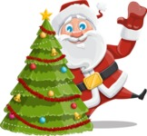 Santa Claus Cartoon Vector Character AKA Mr. Claus North-pole - With Cool Christmas Tree