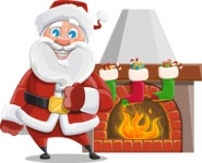 Santa Claus Cartoon Vector Character AKA Mr. Claus North-pole - With Decorated Fireplace