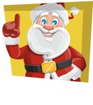 Santa Claus Cartoon Vector Character AKA Mr. Claus North-pole - With Flat Shape Background