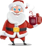 Santa Claus Cartoon Vector Character AKA Mr. Claus North-pole - With Hot Choco Mug
