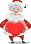 Santa Claus Cartoon Vector Character AKA Mr. Claus North-pole - With Love Heart