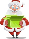 Santa Claus Cartoon Vector Character AKA Mr. Claus North-pole - With Open Christmas Present