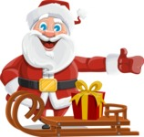 Santa Claus Cartoon Vector Character AKA Mr. Claus North-pole - With Present on a Sleigh