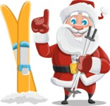 Santa Claus Cartoon Vector Character AKA Mr. Claus North-pole - With Ski