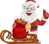 Santa Claus Cartoon Vector Character AKA Mr. Claus North-pole - With Sleigh and Sack with Gifts