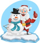 Santa Claus Cartoon Vector Character AKA Mr. Claus North-pole - With Snowman Friend Illustration