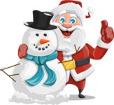 Santa Claus Cartoon Vector Character AKA Mr. Claus North-pole - With Snowman