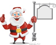 Santa Claus Cartoon Vector Character AKA Mr. Claus North-pole - With Steet Sign
