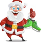 Santa Claus Cartoon Vector Character AKA Mr. Claus North-pole - With Winter Skates