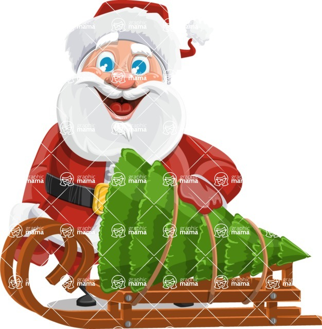 Mr. Claus North-pole - Sled With Christmas Tree