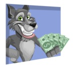 Wolf Cartoon Vector Character AKA Wolfie Paws - Shape 3