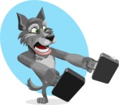 Wolf Cartoon Vector Character AKA Wolfie Paws - Shape 7