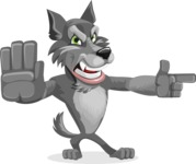 Wolf Cartoon Vector Character AKA Wolfie Paws - Direct Attention