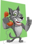 Wolf Cartoon Vector Character AKA Wolfie Paws - Shape 10