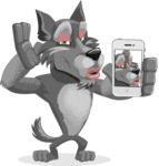 Wolf Cartoon Vector Character AKA Wolfie Paws - Duckface