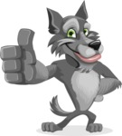 Wolf Cartoon Vector Character AKA Wolfie Paws - Thumbs Up