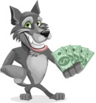 Wolf Cartoon Vector Character AKA Wolfie Paws - Show me the Money