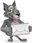 Wolf Cartoon Vector Character AKA Wolfie Paws - Letter