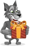 Wolf Cartoon Vector Character AKA Wolfie Paws - Gift