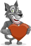Wolf Cartoon Vector Character AKA Wolfie Paws - Love