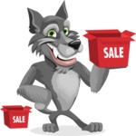 Wolf Cartoon Vector Character AKA Wolfie Paws - Sale