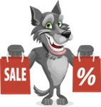 Wolf Cartoon Vector Character AKA Wolfie Paws - Sale 2