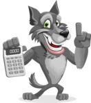 Wolf Cartoon Vector Character AKA Wolfie Paws - Calculator