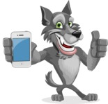 Wolf Cartoon Vector Character AKA Wolfie Paws - iPhone
