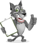 Wolf Cartoon Vector Character AKA Wolfie Paws - Notepad 1