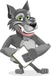 Wolf Cartoon Vector Character AKA Wolfie Paws - Notepad 4