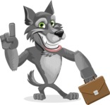 Wolf Cartoon Vector Character AKA Wolfie Paws - Briefcase 2