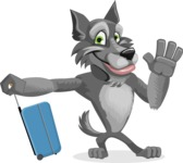 Wolf Cartoon Vector Character AKA Wolfie Paws - Travel 1