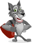Wolf Cartoon Vector Character AKA Wolfie Paws - Travel 2