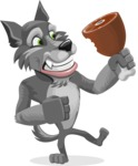 Wolf Cartoon Vector Character AKA Wolfie Paws - Meat
