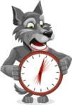 Wolf Cartoon Vector Character AKA Wolfie Paws - Time is Yours