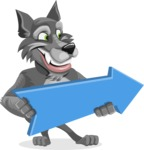 Wolf Cartoon Vector Character AKA Wolfie Paws - Pointer 2