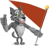 Wolf Cartoon Vector Character AKA Wolfie Paws - Checkpoint