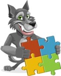 Wolf Cartoon Vector Character AKA Wolfie Paws - Puzzle