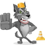 Wolf Cartoon Vector Character AKA Wolfie Paws - Under Construction 1