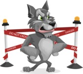 Wolf Cartoon Vector Character AKA Wolfie Paws - Under Construction 2