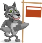 Wolf Cartoon Vector Character AKA Wolfie Paws - Sign 9