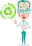 Humanoid Robot Vector Cartoon Character AKA Elton - Eco