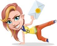 Dance Woman Vector Cartoon Character AKA Melissa - Letter