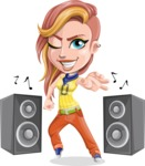 Dance Woman Vector Cartoon Character AKA Melissa - Dance with Speakers 1